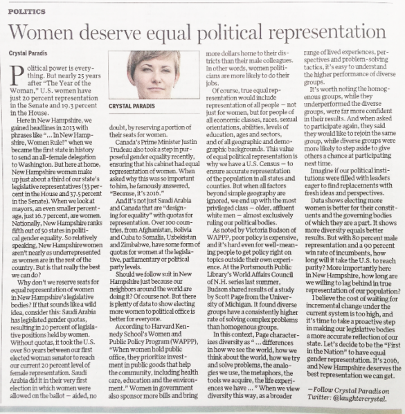 NH Women Deserve Equal Political Representation
