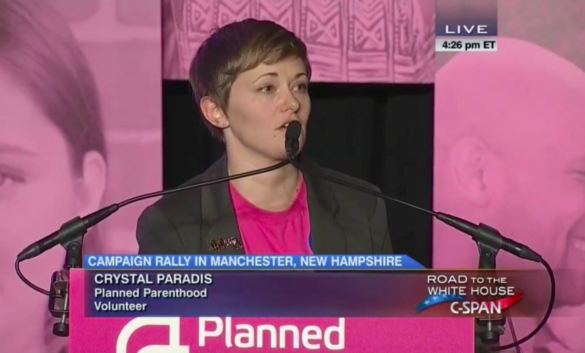 Crystal Paradis introduces Cecile Richards at Planned Parenthood Action Fund endorsement of Hillary Clinton