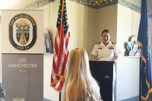 Commander Emily Basset of USS Manchester speaks to Women in Leadership: Next Generation luncheon at Strawbery Banke in Portsmouth, NH