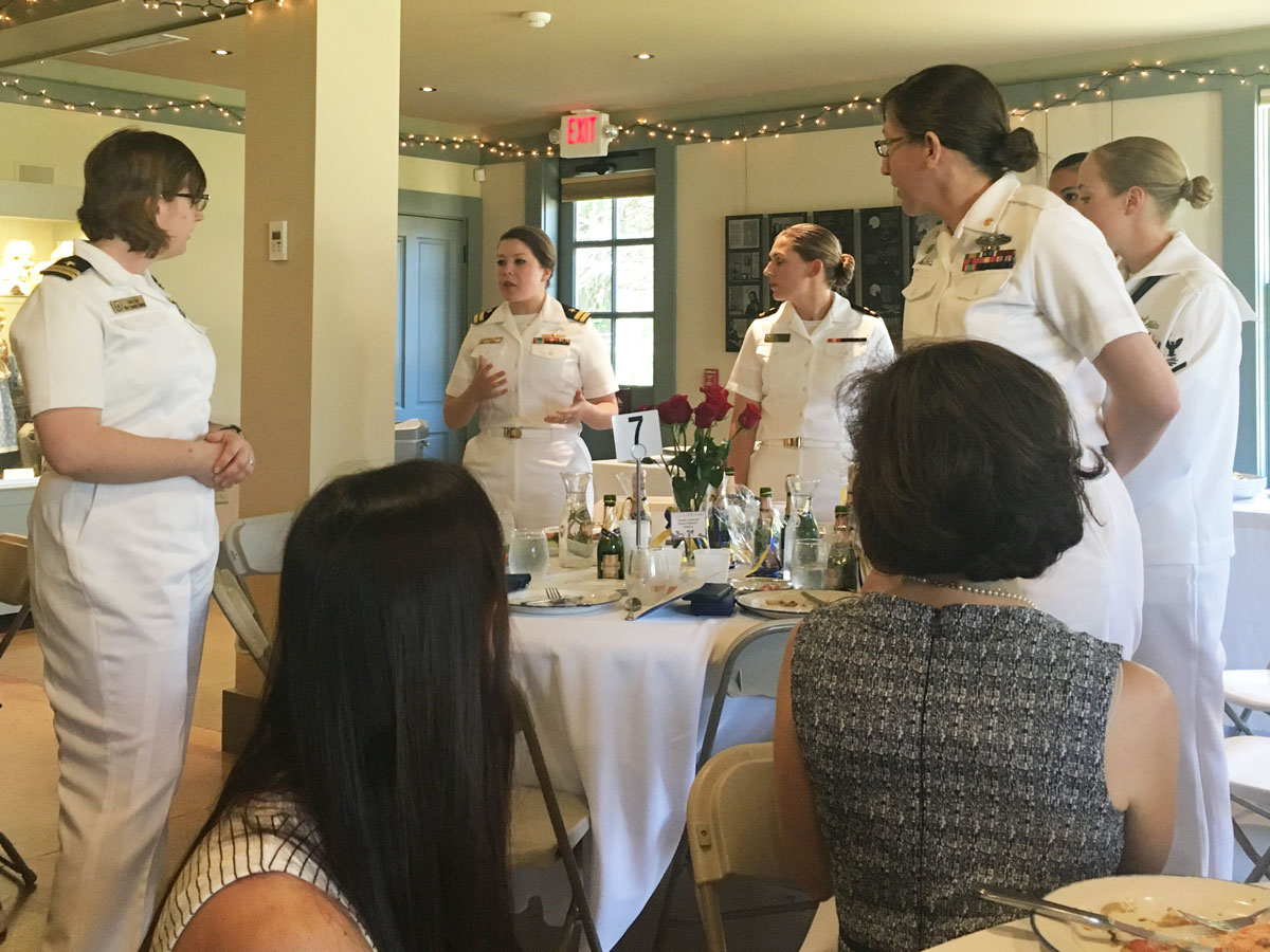Crew from the USS Manchester address the Women in Leadership: Next Generation luncheon in Portsmouth, NH on Wednesday, May 23, 2018