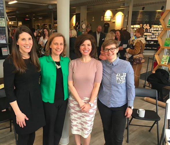 iFundWomen co-founder Kate Anderson, Manchester Mayor Joyce Craig, CWE NH Director Nancy Pearson, Founder of Feminist Oasis Crystal Paradis