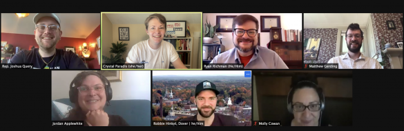 Screenshot showing seven lovely smiling humans on a zoom screen